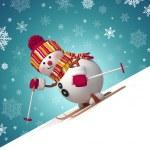 Skiing snowman winter outdoor activity — Stock Photo