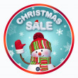 Christmas sale label with 3d snowman — Stock Photo