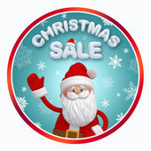 Christmas sale label with 3d Santa Claus — 图库照片