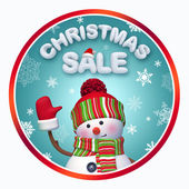 Christmas sale label with 3d snowman — Photo