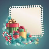 Greeting card with stack of gift boxes — Stock Photo