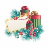 Greeting card with gift boxes — Stockfoto