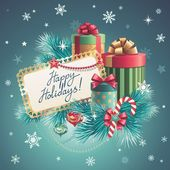 Christmas gift boxes, greeting card — Stok fotoğraf