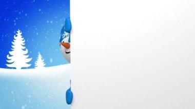 Christmas snowman salutation — Stock Video