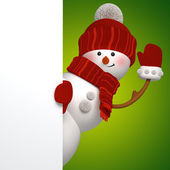 3d snowman banner, green background — Stock Photo