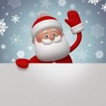 3d Santa Claus holding white card — Stock Photo