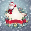 3d Santa Claus holding star banner — Stock Photo