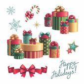 Gift boxes design elements set — Stock Photo
