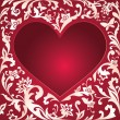 Valentine's day red card, white floral cut heart shape — Stock Photo #38608763