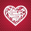 Valentine's day red card with greeting text, white floral cut heart shape — Stock Photo #38608777