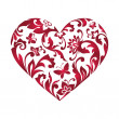 Valentine's day greeting card with floral heart shape isolated on white — Stock Photo