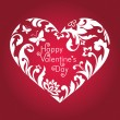 Valentine's day red card with greeting text, white floral cut heart shape — ストック写真