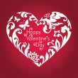 Stockfoto: Valentine's day red card with greeting text, white floral cut heart shape