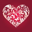 Valentine's day red card, white floral cut heart shape — Stock Photo #38608819