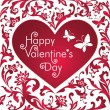 Valentine's day red card with greeting text, white floral cut heart shape — Stock Photo #38608829