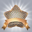 Golden star symbol with diamonds — Stock Photo