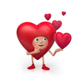 3d cute funny heart cartoon character making choice — Stock Photo