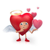 3d cute funny heart cartoon character making choice — Foto Stock