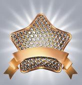 Golden star symbol with diamonds — Stock Photo