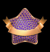 3d golden star with purple crystals — Stock Photo