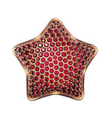 Golden star symbol with ruby crystals — Stock Photo