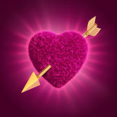 3d furry pink heart pierced with gold arrow — Stock Photo