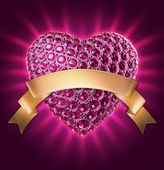 3d purple glowing jewelry heart with gems and crystals, gold ribbon tag — Stock Photo