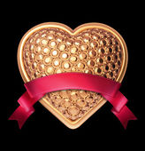 3d shiny gold bedazzled heart with red ribbon tag — Stock Photo