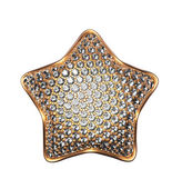Golden star symbol with diamonds, clear crystals, gems, jewels — Stock Photo