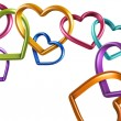 Colorful hearts rings linked into chain — Stock Photo #41806325