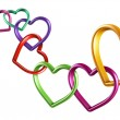 Colorful hearts rings linked into chain — Stock Photo #41806345