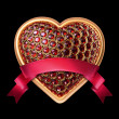 Stok fotoğraf: Crystallized ruby heart with red ribbon tag