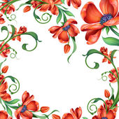 Abstract red floral frame — Stock Photo