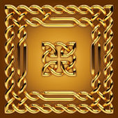 Gold Celtic frame border and sign — Stock Photo