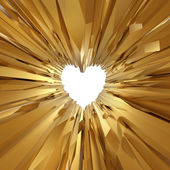 Gold crystal glass background with heart symbol — Foto de Stock