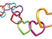 Colorful hearts rings linked into chain — Stock Photo