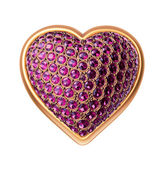 3d golden heart symbol with ruby gems, crystals, jewels — Stock Photo