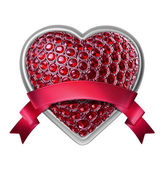 3d silver heart with ruby crystals and red ribbon tag — Stock Photo
