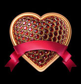 Crystallized ruby heart with red ribbon tag — Stock Photo
