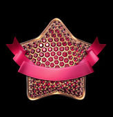 Crystallized ruby star with ribbon tag, — Stock Photo