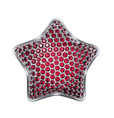 3d silver star with ruby red crystals — Stock Photo