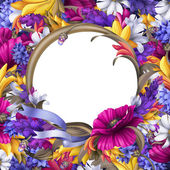 Round floral frame with blank space — Foto Stock