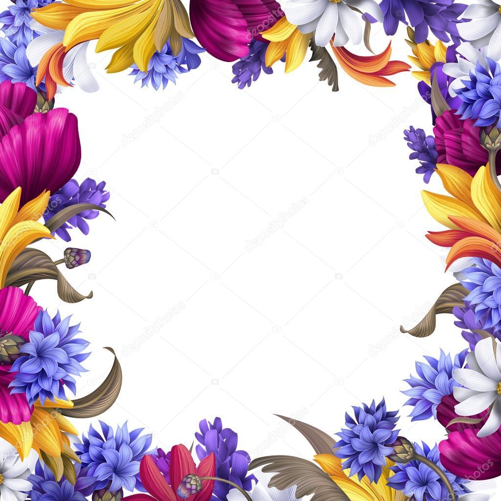 方形复古框架, 紫色和黄色的花
