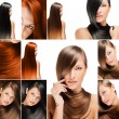 Fashion hairstyle collage, natural long shiny healthy hair - 图库照片