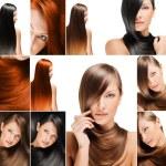 mode frisyr collage, naturliga långa blanka friska hår — Stockfoto #13557729