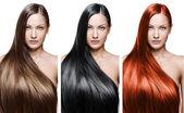 Collage av en vacker ung kvinna, med långa naturligt rakt hår, blandad färg, begreppsmässig frisyr — Stockfoto