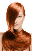Woman with long red hair — Stock Photo
