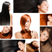 Collage moda peinado, cabello sano largo brillante natural — Foto de Stock