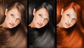 Colagem de uma mulher bonita com cabelo liso longo natural, cor misturada, penteado conceitual — Foto Stock