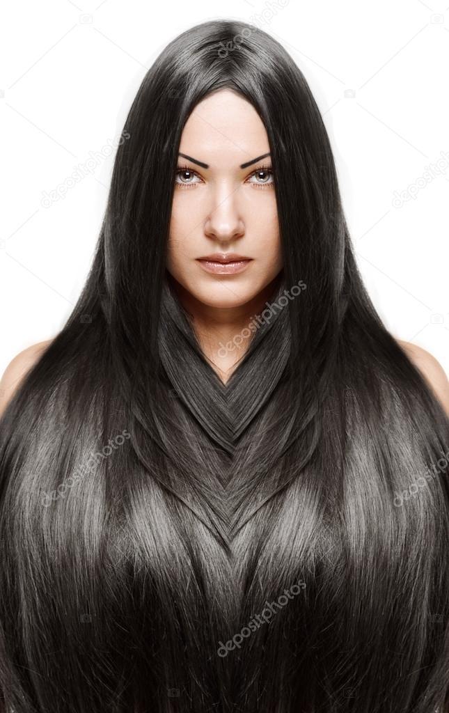 Photo femme cheveux long noir